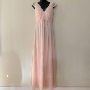 Pinkblush Peach Lace Trim Maternity Maxi Dress
